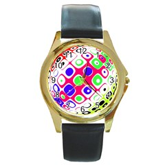 Color Ball Sphere With Color Dots Round Gold Metal Watch