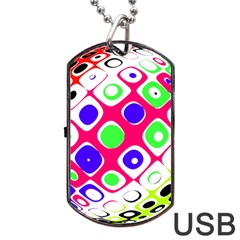 Color Ball Sphere With Color Dots Dog Tag Usb Flash (two Sides) by Nexatart