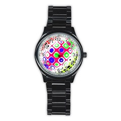 Color Ball Sphere With Color Dots Stainless Steel Round Watch