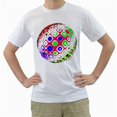 Color Ball Sphere With Color Dots Men s T Shirt (white)