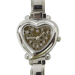 White Vintage Frame With Sepia Targets Heart Italian Charm Watch