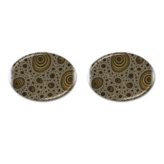 White Vintage Frame With Sepia Targets Cufflinks (oval) by Nexatart