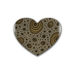 White Vintage Frame With Sepia Targets Rubber Coaster (heart)  by Nexatart