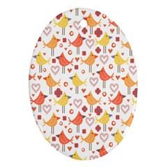 Happy Birds Seamless Pattern Animal Birds Pattern Ornament (oval)