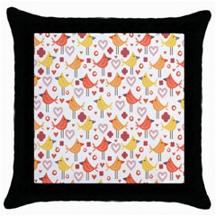 Happy Birds Seamless Pattern Animal Birds Pattern Throw Pillow Case (black)