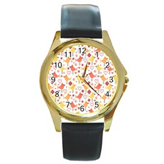 Happy Birds Seamless Pattern Animal Birds Pattern Round Gold Metal Watch