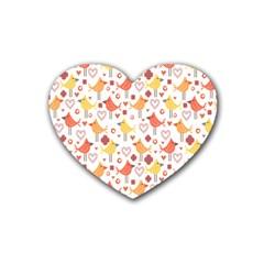 Happy Birds Seamless Pattern Animal Birds Pattern Rubber Coaster (heart)  by Nexatart