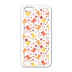 Happy Birds Seamless Pattern Animal Birds Pattern Apple Iphone 6/6s White Enamel Case by Nexatart