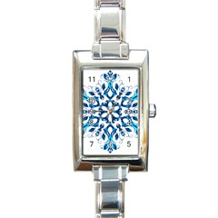Blue Snowflake On Black Background Rectangle Italian Charm Watch by Nexatart