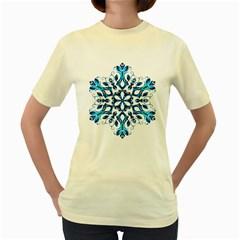Blue Snowflake On Black Background Women s Yellow T Shirt