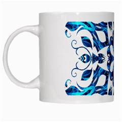 Blue Snowflake On Black Background White Mugs by Nexatart