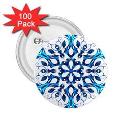 Blue Snowflake On Black Background 2 25  Buttons (100 Pack)