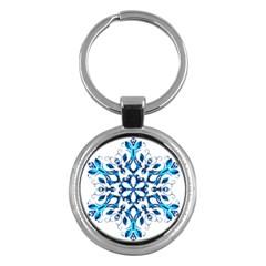 Blue Snowflake On Black Background Key Chains (round)