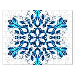 Blue Snowflake On Black Background Rectangular Jigsaw Puzzl