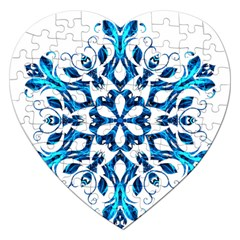 Blue Snowflake On Black Background Jigsaw Puzzle (heart)