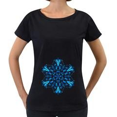 Blue Snowflake On Black Background Women s Loose Fit T Shirt (black)
