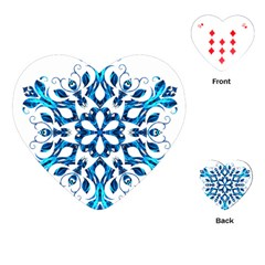 Blue Snowflake On Black Background Playing Cards (heart)  by Nexatart