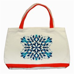 Blue Snowflake On Black Background Classic Tote Bag (red)