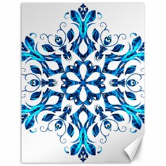 Blue Snowflake On Black Background Canvas 12  X 16