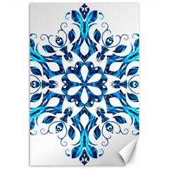 Blue Snowflake On Black Background Canvas 24  X 36  by Nexatart