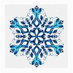 Blue Snowflake On Black Background Medium Glasses Cloth