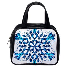 Blue Snowflake On Black Background Classic Handbags (one Side)