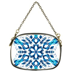 Blue Snowflake On Black Background Chain Purses (one Side)