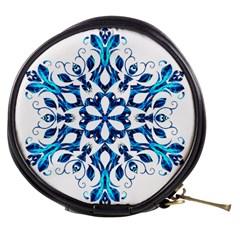 Blue Snowflake On Black Background Mini Makeup Bags by Nexatart
