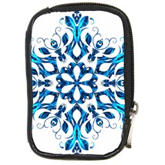 Blue Snowflake On Black Background Compact Camera Cases by Nexatart