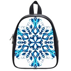 Blue Snowflake On Black Background School Bags (small)  by Nexatart