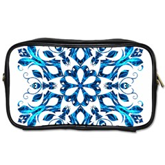 Blue Snowflake On Black Background Toiletries Bags 2 Side by Nexatart