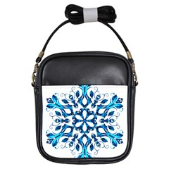 Blue Snowflake On Black Background Girls Sling Bags by Nexatart