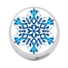 Blue Snowflake On Black Background 4 Port Usb Hub (two Sides)