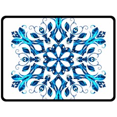 Blue Snowflake On Black Background Fleece Blanket (large)