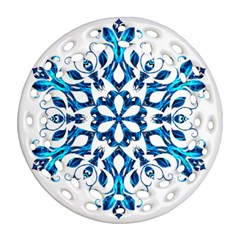 Blue Snowflake On Black Background Round Filigree Ornament (two Sides) by Nexatart