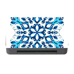 Blue Snowflake On Black Background Memory Card Reader With Cf by Nexatart