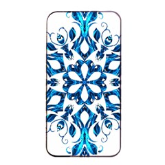 Blue Snowflake On Black Background Apple Iphone 4/4s Seamless Case (black) by Nexatart
