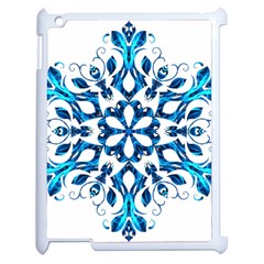 Blue Snowflake On Black Background Apple Ipad 2 Case (white) by Nexatart