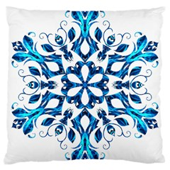 Blue Snowflake On Black Background Large Cushion Case (one Side)