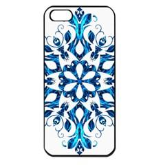 Blue Snowflake On Black Background Apple Iphone 5 Seamless Case (black)