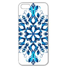 Blue Snowflake On Black Background Apple Seamless Iphone 5 Case (clear)
