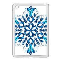 Blue Snowflake On Black Background Apple Ipad Mini Case (white)