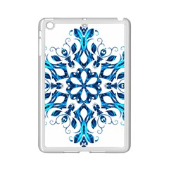 Blue Snowflake On Black Background Ipad Mini 2 Enamel Coated Cases