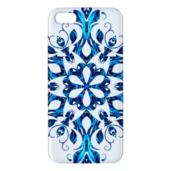 Blue Snowflake On Black Background Apple Iphone 5 Premium Hardshell Case by Nexatart