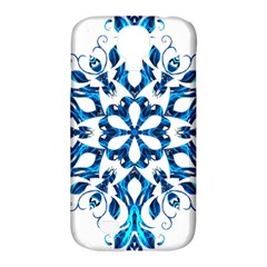 Blue Snowflake On Black Background Samsung Galaxy S4 Classic Hardshell Case (pc+silicone) by Nexatart