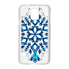 Blue Snowflake On Black Background Samsung Galaxy S5 Case (white)