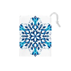 Blue Snowflake On Black Background Drawstring Pouches (small)