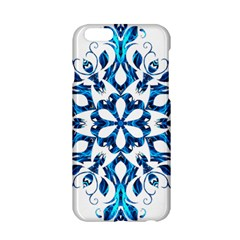 Blue Snowflake On Black Background Apple Iphone 6/6s Hardshell Case by Nexatart