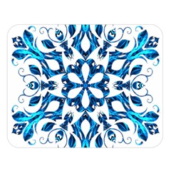 Blue Snowflake On Black Background Double Sided Flano Blanket (large)