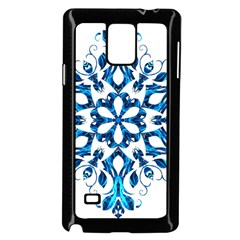 Blue Snowflake On Black Background Samsung Galaxy Note 4 Case (black) by Nexatart